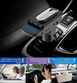 2IN1 Earbud+Car FM Transmitter/USB Charger/MP3 Player for Ca