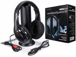 5 in 1 Wireless Headphones Over Ear Headsets with Monitoring