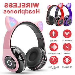 Bluetooth 5.0 Wireless Cat Rabbit Ear Headset LED w/Mic Head