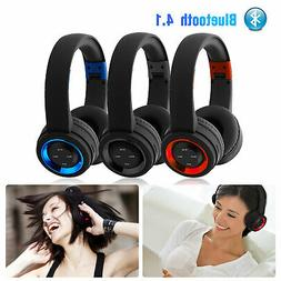 BT Headset Wireless Noise Cancelling Earphone Stereo Over Ea