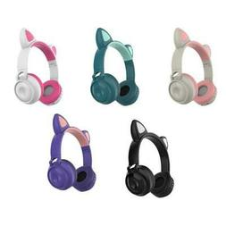 Cat Ear with LED light Noise Cancelling Foldable Wireless He
