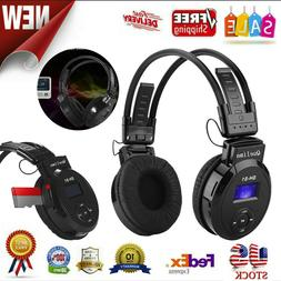 FM Radio Wired & Wireless Mode Headphones With Mic HiFi Ster