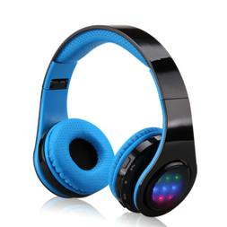 Folding Wireless Bluetooth LED Stereo Headphones Adjustable