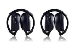 Crusar 2-Pack IR Wireless Two-Channel Foldable Headphones fo