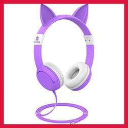 Kids Headphones Cat Inspired Wired On Ear For 85Db Volume Co