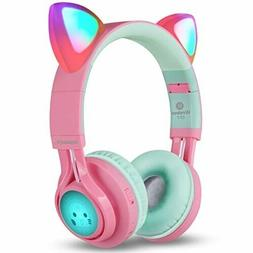 Kids Wireless Bluetooth Headphones Ear Cup with LED and Mic