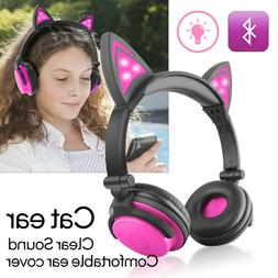 For kids Wireless Bluetooth Headset Rechargeable Cat On-Ear
