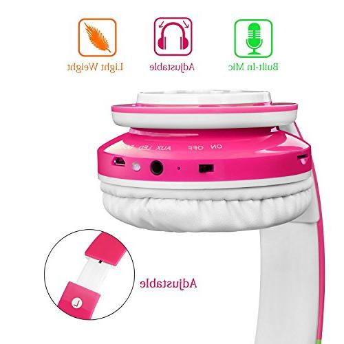 for Kids, Limited, to Hours SD Card Over-Ear and Build-in Mic Headphones for Girls