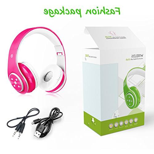 2018 Bluetooth Headphones for Kids, 85db Limited, to 6-8 Hours Play, Stereo SD Card Slot, and Build-in Headphones Boys Girls