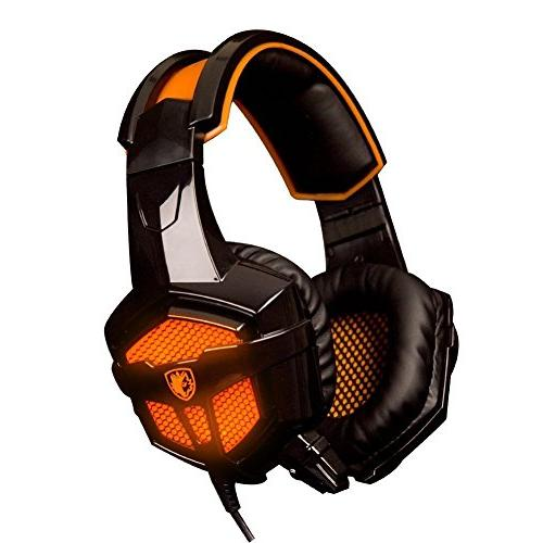 Gaming Headphones,Sades SA-738 3.5mm USB Plug Lightweight Ov