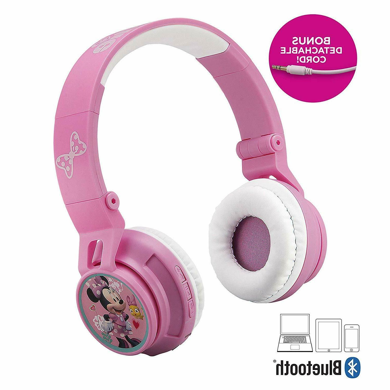 Minnie Mouse Bluetooth Headphones For Kids Wireless Rechargeable