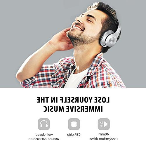 Mpow 059 Bluetooth Over Ear, Hi-Fi Wireless Headset, Memory-Protein Earmuffs, and PC/Cell Phones/TV