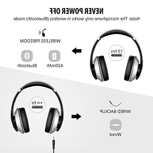 Mpow 059 Bluetooth Headphones Over Hi-Fi Stereo Wireless Soft Memory-Protein PC/Cell