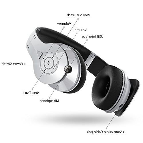 Mpow Bluetooth Headphones Over Hi-Fi Wireless Memory-Protein and PC/Cell Phones/TV
