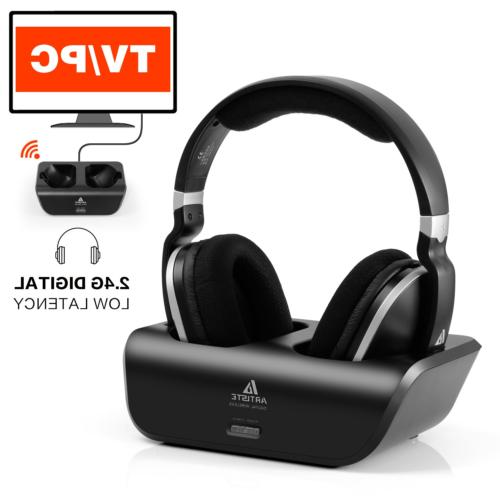 Wireless TV Headphones Ear Stereo Headsets with 2.4GHz RF 100ft Wireless Rechargeable Hour Battery, Black