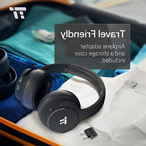 TaoTronics Noise Bluetooth Wireless Deep Bass Headset w/CVC Noise Canceling Microphone Playtime Comfortable for Travel Work