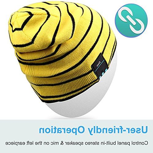 Mydeal Hat with Wireless Bluetooth Headphone Audio Hands-free Phone for Winter Fitness Gym Exercise Workout Yellow
