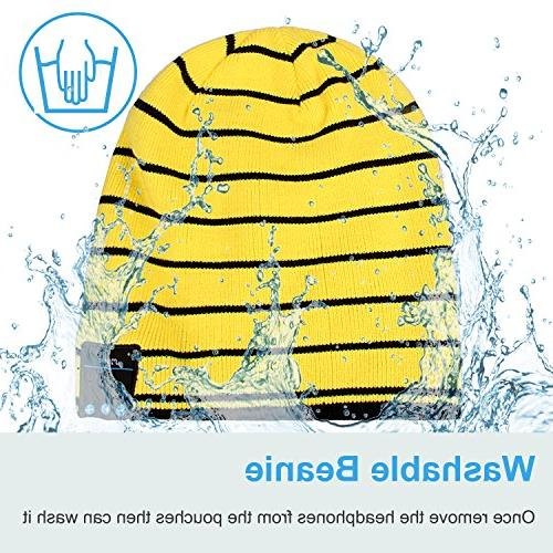 Mydeal Bluetooth Beanie Knit Skully Beanie Hat Headphone Audio Hands-free for Sports Fitness Gym Exercise Yellow