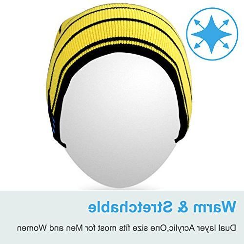 Mydeal Knit Skully Cap Hat with Headphone Audio Hands-free Call for Winter Sports Gym Workout - Yellow