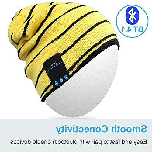 Mydeal Bluetooth Knit Skully Beanie Cap Hat with Wireless Headphone Earphone Audio Phone for Winter Gym Exercise Yellow