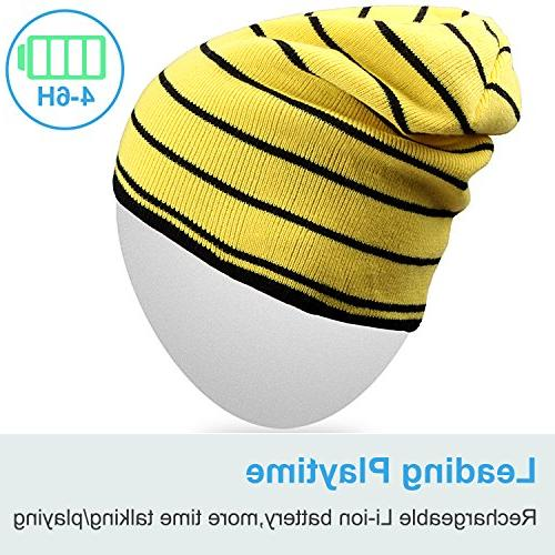 Mydeal Bluetooth Slouchy Knit Skully Hat with Bluetooth Headphone Headset Earphone Audio Hands-free Phone for Winter Sports Gym Yellow