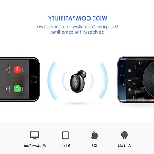 Mpow Mini Bluetooth Headphones with Microphone, Invisible Headset for Cell Phone