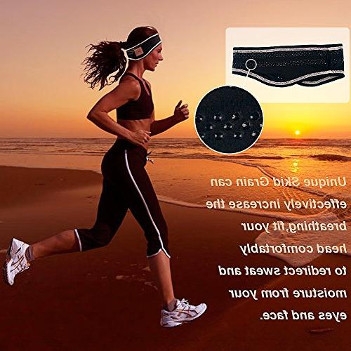 Mydeal Sports Headband Wireless Headset Microphone Free for Gym Compatible with Iphone Android - Black