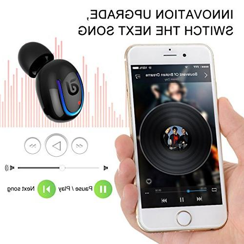 Bluetooth Headphone, Sport 8 Talking Bluetooth Headset One Piece- Black