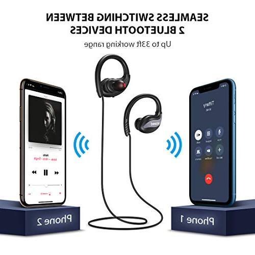 Bluetooth Sports Earphones Bluetooth in-Ear Sweatproof Hrs Play Time HiFi Stereo Richer Bass Cancelling Running Gym - Gray