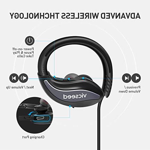 Bluetooth Sports 4.1 in-Ear Sweatproof 8 Cancelling Headset for Gym
