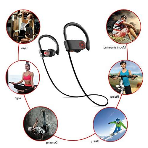 Laifeo Bluetooth Wireless Earphones IPX7 Waterproof Stereo Sweatproof Running Workout Hour Battery Noise Cancelling