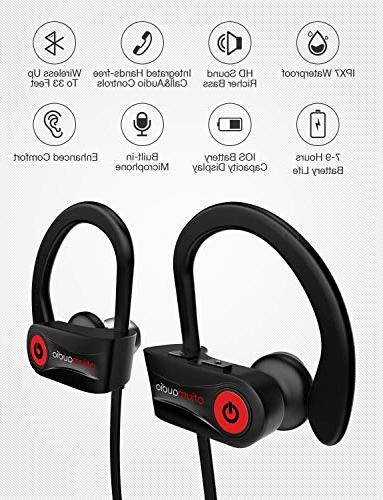 Otium Headphones, Best Earbuds, IPX7 for Gym Running Hours Noise Headsets