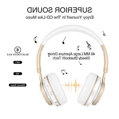 HiFi Stereo Foldable Wireless Headphones Protein Earpads, Noise Isolation, TF Card Mode, Radio Mode for