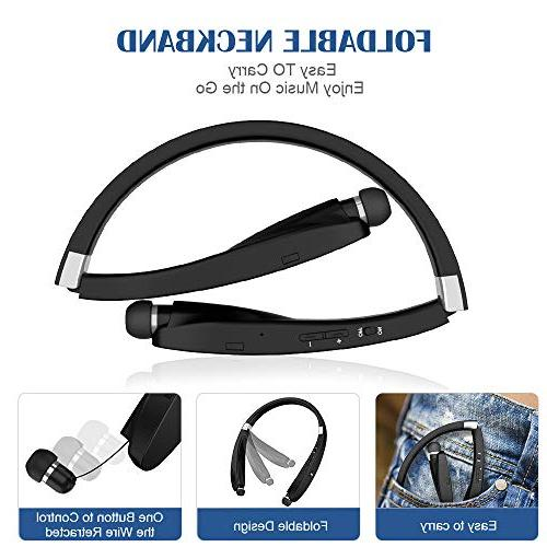 Bluetooth Headphones, Wireless Bluetooth Headset, Wireless Retractable Headset with Neckband Compatible S9