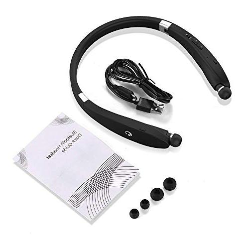 Bluetooth Headphones, Bluetooth Headset, Foldable Retractable Headset Neckband Compatible S9