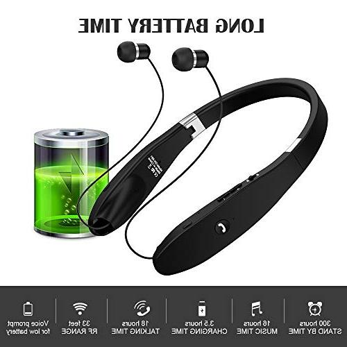 Bluetooth Headphones, Wireless Headset, Wireless Foldable Headset with Neckband Design Compatible for