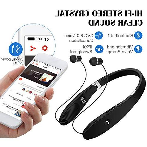 Bluetooth Bluetooth Headset, Wireless Foldable Retractable Headset with Neckband Compatible X/8/7 S9