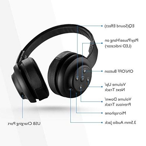 Mpow w/ Equalizer Both Headphones On EQ Bluetooth Headset with Mic for 13-Hour Wireless