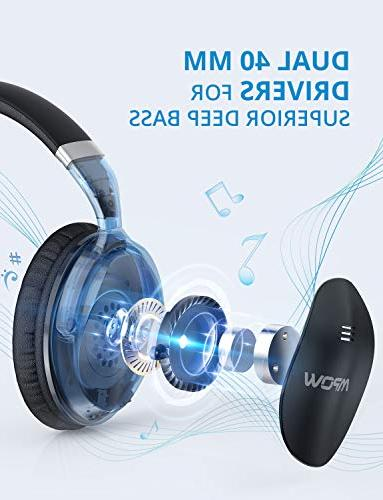 Cancelling Headphones, Ear Bluetooth w/Mic, Drivers, Deep for