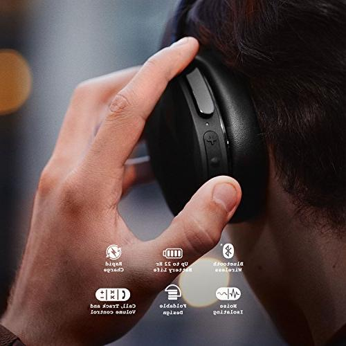 Skullcandy Wireless Headphones Microphone, Rapid Charge Battery, Foldable, Ear Cushions All-Day Black