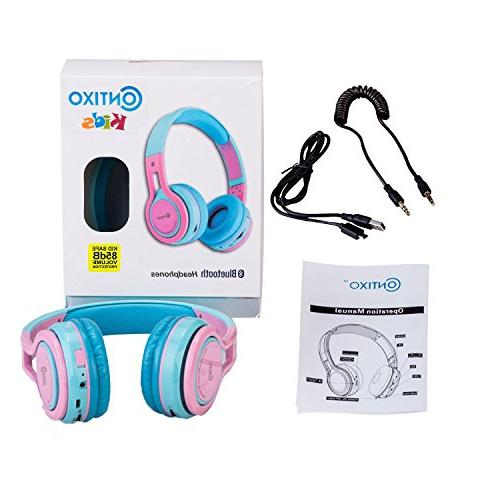 Contixo KB-2600 Kid Safe Foldable Wireless Bluetooth with Limiter, Micro Phone, SD card Player, FM Stereo Radio, & Blue Pink