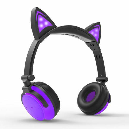 For Bluetooth Headphones LED Mic Stereo headset US