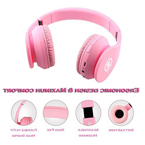Mokata Bluetooth Wireless Ear Foldable Stereo Sound with AUX SD Slot, Mic Microphone for Girls Game B01