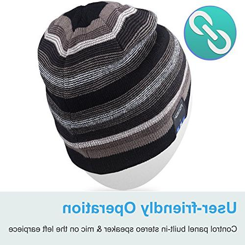 Mydeal Rechargeable Beanie Double Knit Skully Cap Wireless Stereo Headphone Earphone Speakerphone Mic Christmas Gift-