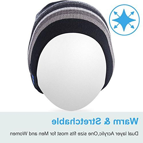 Mydeal Bluetooth Beanie Knit Skully Wireless Stereo Earphone Speakerphone Mic Sports Skating Hiking Christmas Black