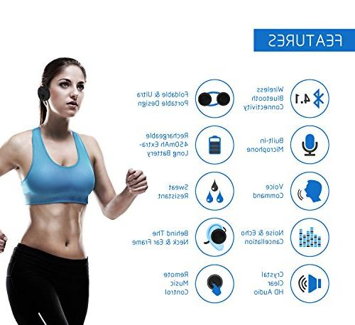 BESIGN Bluetooth Headphones, Wireless Stereo Neckband Sports for Wireless Streaming and Hands-Free Calling, to 25 Hours time