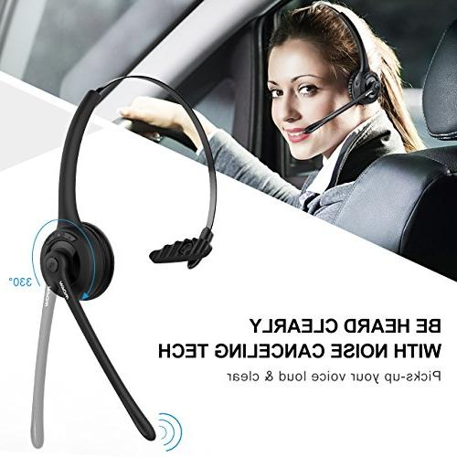 Mpow Pro Trucker Headset/Cell Phone Microphone, Office On Ear Bluetooth Headphones Cell Phone, Skype, Truck Driver, Center