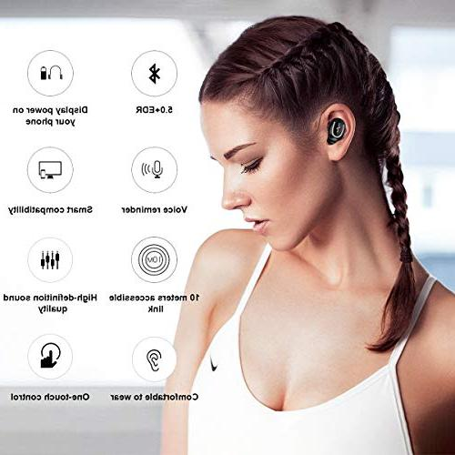 in-Ear Stereo Bluetooth Noise Cancelling Headsets Mini Wireless Headphone - Black