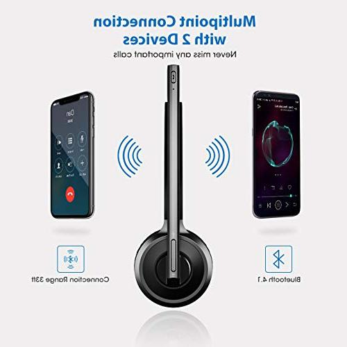 Mpow Bluetooth Driver Headset Stand Wireless Head Earpiece with Noise Reduction Mic Phones, Skype, Office