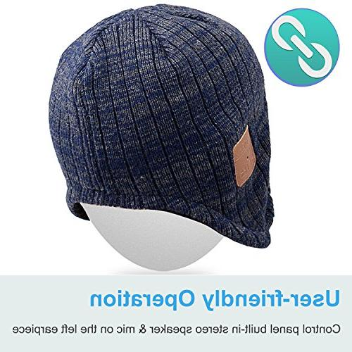 Mydeal Beanie Hat Ear Warmers with Wireless Headsets Microphone for with Iphone Phones -